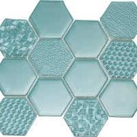 Hex Mix - Sky Blue - Size 9x11 mosaic nominal