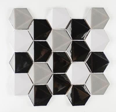 3D-Hex---Black-&-White-Blend---11B---Size-11x11-Mosaic