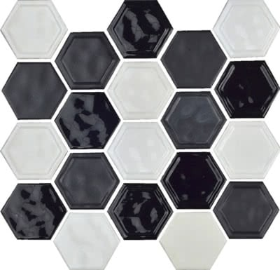 Hexagon---Black-&-White-Blend---11B---Size-10.5x12-Mosaic